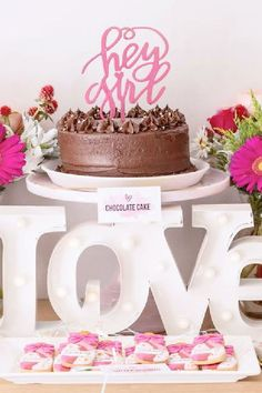 Fall in love with this fab Galentine's day party! The cake is so pretty! See more party ideas and share yours at Catchmyparty.com #catchmyparty #partyideas #galentines #gals #galentinesdayparty #galentinesday #cake