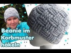 Mütze im Korbmuster häkeln - Anfänger geeignet - YouTube