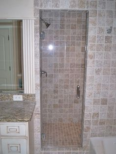 Frameless Shower Enclosure - Furnished & Installed by Rex Glass & Mirror Co. Frameless Shower Enclosures, Frameless Shower Doors, Glass Company, Bathroom Ideas, Bathtub, Mirror, Luxury, Modern, Standing Bath