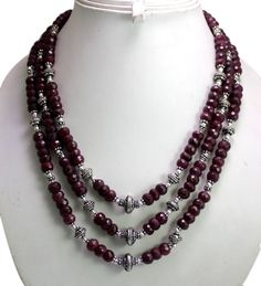 (SKU No. 972ct) 972ct Natural Blood Red Ruby Designer Beads Necklace Faceted with Silver Beads