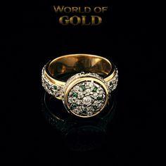 Diamond Emerald Royal Ring Women's Diamond Emerald Ring Women's Signet Ring Unique Design Ring Lovely Gold Ring Women's Fashion (1290.00 USD) by WorldOfGold