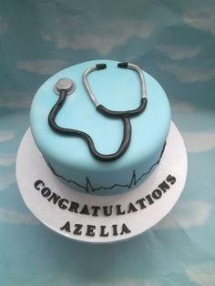 Medical graduation cake. Stethoscope with heart beat.