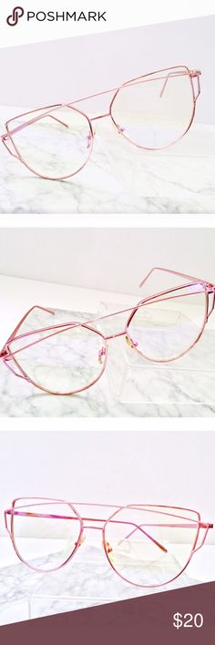 """""""Skyline Pink"""" Cat eye Frames  """"Skyline Pink""""  cat eye Frames are New Arrivals For this month to """" The Mini Collection """" ✨ Item is New with Eye Case included.✨.            ••••••••••••••••••••••••••••••••••••••••••••••••••••••••••••••••••• *High Quality • Oversized • Cat Eye • Metal Frames.                                                                    Rose Gold • Pink + Clear Lens • Exclusive Color  Item will be ship same or next day • Packaged w/ love and care  ASOS Accessories…"""