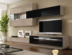 Design wall unit Best in lacquer or wood decor - glass cabinet TV Lowboard uvm. Living Room Wall Units, Living Room Tv Unit Designs, Home Living Room, Living Room Decor, Design Case, Wall Design, Tv Wanddekor, Modern Tv Wall Units, Tv Unit Furniture