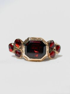 Late 17th Century Flat-cut Garnet Ring; probably Spanish
