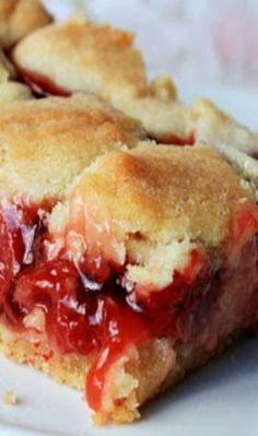 Cherry Pie Sugar Cookie Bars Recipe ~ Sweet cherry pie filling between sugar cookie layers. Such an easy and pretty dessert!