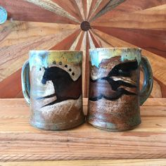 Cave Art Wild Horse Mug - Handmade Pottery Hand Carved, Hand Painted, Horse Face, Cozy Kitchen, The Potter's Wheel, Wild Horses, Best Memories, Handmade Pottery, Mother Day Gifts