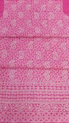 Lucknowi Chikan Suit Length 3 Piece Pink Faux Georgette $52.22