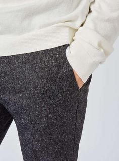 Charcoal Salt And Pepper Ultra Skinny Fit Cropped Smart Pants - TOPMAN USA