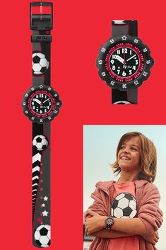 Kids will have fun learning to tell the time with this football-crazy black analogue watch, and they won't stop until after the final whistle blows. With a distinctive black, red and grey design, SOCCER STAR (ZFPSP010) is a Swiss-made timepiece that will set style goals for the other kids. It's also sturdy enough to cope with any knocks and bumps it might take out on the pitch, making it ideal for the wrists of the sportiest and most active kids. Red And Grey, Black, Soccer Stars, Telling Time, Fun Learning, Pitch, Activities For Kids, Have Fun, Football