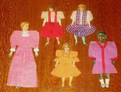 folk art paper handmade doll dresses c.1905.