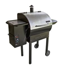 Enjoy the savory flavor of smoky BBQ with all of your favorite meats. Camp Chef's innovative Pellet Grill and Smoker Deluxe simplifies the process of smoking. Digital heat control automatically feeds