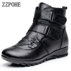 c471e7bdd8654d ZZPOHE Winter Shoes Women Flats Ankle Boots Woman Fashion Genuine Leather  Wedges Boots Mother Casual Non slip Warm Snow Boots-in Ankle Boots from  Shoes on ...