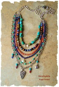 Festival Of Nature, Multiple Strand Rustic Gemstone Necklace, Boho Style Necklace, Bohemian Jewelry, BohoStyleMe, Kaye Kraus by BohoStyleMe on Etsy #diy_necklace_bohemian