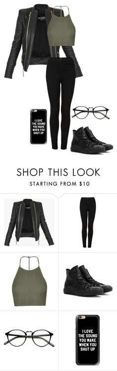 """you're irreplaceable"" by shay-trio-of-three-o on Polyvore featuring Balmain, Topshop, Converse and Casetify"