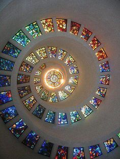 Spiral stained glass in the Thanksgiving Square Chapel. Dallas, Texas. I have a picture taken by a photographer of this. Now I know where he took it!