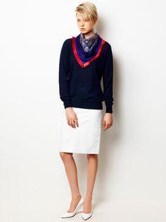 Bi-color Pullover, Patent Leather Skirt and Bandana Scarf / LE CIEL BLEU