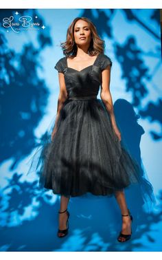 Laura Byrnes California- Lesley-Ann Dress in Black with Black Tulle | Pinup Girl Clothing. PinUpGirlClothing.com $260