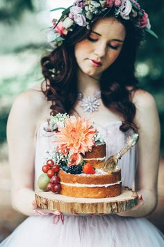 Naked sponge cake decorated with fruits & flowers  - Image by Miss Gen - Alice In Wonderland Mad Hatters Tea Party Inspired Wedding Inspiration Shoot Using Top Australian Wedding Suppliers Rockstars And Royalty Swish Vintage And Peony N' Pearl With Images By Miss Gen Photography