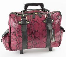 """Gogovoyage   17"""" Magenta Snakeskin Pattern Rolling Travel Tote Rolling Laptop Bag, Travel Tote, Snake Skin, Magenta, Pattern, Bags, Handbags, Patterns, Model"""