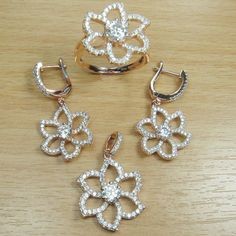 Brilliant Cut Micro Setting White CZ 925 Sterling Silver Pink Gold Plate Flower Jewelry Set