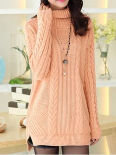 Stylish Turtleneck Long Sleeves Solid Color Slit Long Sweater For Women