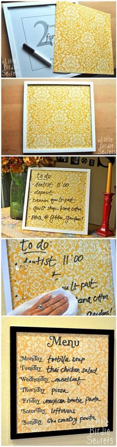 Rly cute idea for your kitchen or special occasions (dinner menu for guests).
