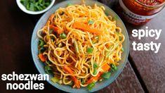 schezwan noodles recipe | szechuan noodles | सेज़वान नूडल्स बनाने की विधि | veg schezwan noodles - YouTube Red Chutney Recipe, Chilli Pickle Recipe, Chutney Recipes, Schezwan Noodles, Szechuan Noodles, Schezwan Sauce, Recipes With Thin Noodles, Noodle Recipes, Jamun Recipe