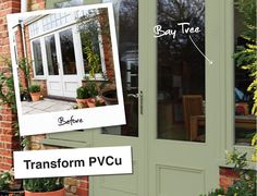 These guys claim you can paint pvc windows. Maybe something to try before we rip them out in the future window ideas Painted Upvc Door, Painted Front Doors, Front Door Side Windows, Front Door Decor, Painting Upvc Windows, Upvc Porches, Door Paint Colors, Double Glazed Window, Door Makeover