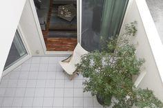 2階バルコニーから中庭を見下ろす