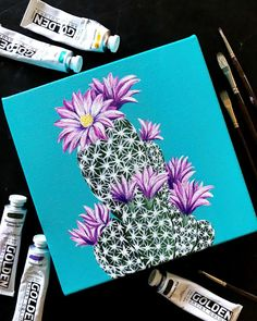 "These lil canvas painting are my favorite and have brought so much color to This lil canvas painting is my favorite and has brought so much color in ""Purple Escobar"" 💜🌵 The newest inch for 300 DM … Cactus Painting, Cactus Art, Diy Painting, Painting & Drawing, Watercolor Paintings, Flower Canvas Paintings, Purple Painting, Cactus Drawing, Painting Canvas"