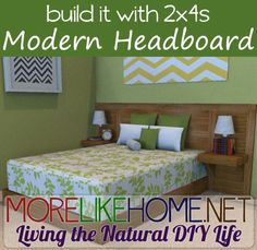 Build a modern headboard out of 2x4s with MoreLikeHome.net. Plus Lowes / Home Depot gift cards giveaway!