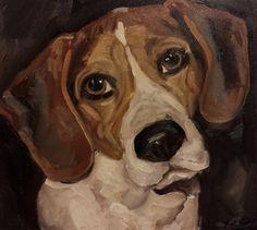 Custom Pet portrait Beagle painting beagle art by LetsPretendArt
