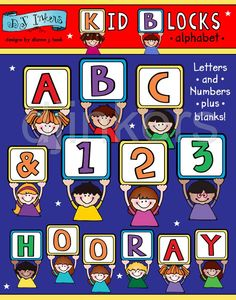 kid alphabet, block letters, cute alphabet, clip art alphabet