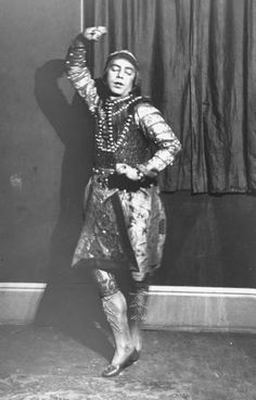 """Vaslav Nijinsky, star of the Ballets Russe, in costume for role in """"Le Dieu Bleu"""" photographed by E. O. Hoppe.  1912"""