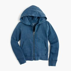 """Our new hoodie is made in LA and garment-dyed in awesome colors they'll love. And in case you're wondering, """"garment-dyed"""" just means the style is sewn, then dyed, allowing the color to saturate more deeply at different places in the fabric—especially around the seams. <a href='https://hello.jcrew.com/2015-02-mar/garment-dyed-tees'><u>Go behind the design.</u></a> <ul><li>Cotton.</li><li>Long sleeves.</li><li>Machine wash; we recommend laundering separately or with like colors as…"""