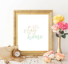 Printable Instant Download Mint and Peach Minimalist Print Let's Stay Home Love Inspirational Quote by BoodaDesigns on Etsy
