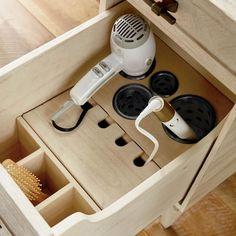 Bathroom Vanity Organization, Bathroom Drawers, Small Bathroom, Bra Organization, Kitchen Organization, Tool Drawers, Master Bath Remodel, Bathroom Interior Design, Hair Dryer Storage