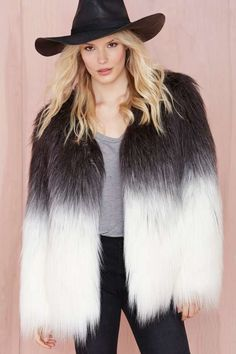 Maison Scotch Fade Out Faux Fur Jacket - Clothes