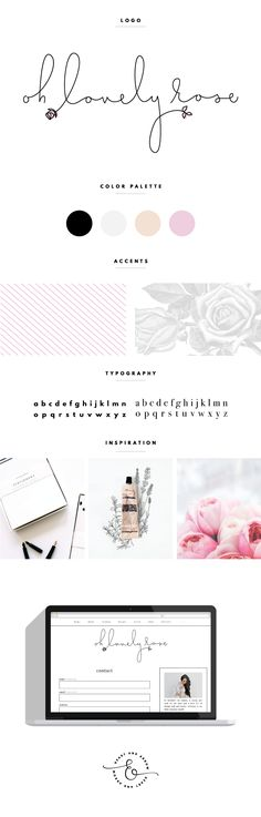 Oh Lovely Rose Brand Board | whimsical black pink white stripes branding and identity