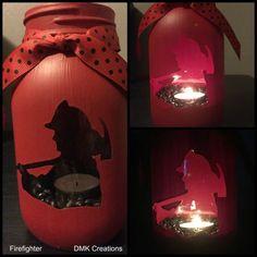 Firefighter Painted Mason Jar Tea Light Candle by DMKCreationsofFL Firefighter Crafts, Firefighter Decor, Volunteer Firefighter, Firefighters, Firemen, Firefighter Family, Firefighter Shirts, Fireman Wedding, Firefighter Wedding