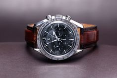 Omega Speedmaster '57 reference 3594.50 that was in production from 1997 to 2003 (roughly). Our reader adds that his watch has a custom made strap. Made by… himself!