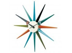 George Nelson Multi-Color in. Sunburst Wall Clock - One of the most recognizable designs of the mid-century, the George Nelson Multi-Color in. Sunburst Wall Clock is just as stylish today as.