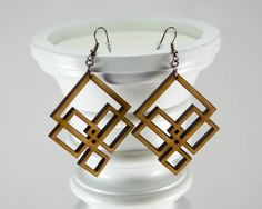 Unique Interlocking Diamond Design Laser-Cut Wooden Earrings -Lightweight Abstract Wood Earrings in Cherry, Maple or Walnut Wood [EA-021] on Etsy, $18.00