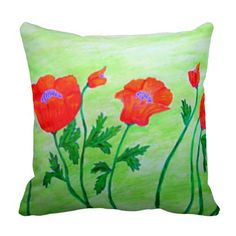 Gorgeous Poppies Throw Pillow
