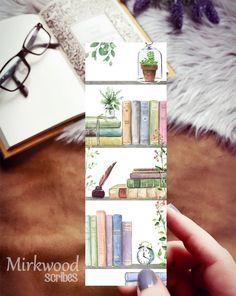 Bookshelves Watercolor Handmade Bookmark, Cozy Reading Nook Bookmark Gift for Reader, Book Illustration