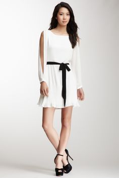 Split Sleeve Belted Dress