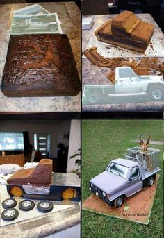 Hunter Car cake by Verusca Walker 3d Cakes, Fondant Cakes, Cupcake Cakes, Cake Decorating Techniques, Cake Decorating Tutorials, Car Cake Tutorial, Fondant Cake Tutorial, Decoration Patisserie, Truck Cakes