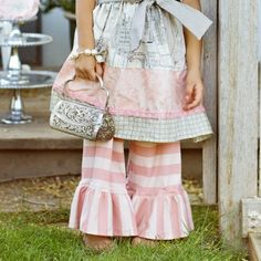 Persnickety Heirloom Pink Stripe Bell Pants $45.00