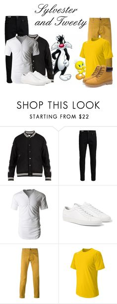 """""""Sylvester and Tweety"""" by hestiarocks ❤ liked on Polyvore featuring Off-White, Jack & Jones, LE3NO, Dsquared2, New Balance, men's fashion and menswear"""